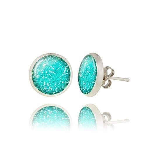 Ohrringe Glas facettiert glitzernd t/ürkis blau Ohrstecker Stecker Cabochon silber bronze gold Juvelato