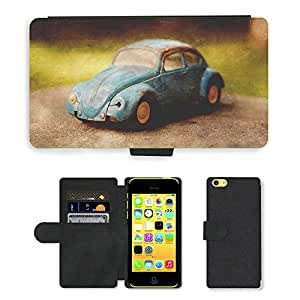 PU Cuir Flip Etui Portefeuille Coque Case Cover véritable Leather Housse Couvrir Couverture Fermeture Magnetique Silicone Support Carte Slots Protection Shell // M00156879 Vintage Bug de coches de juguete // Apple iPhone 5C