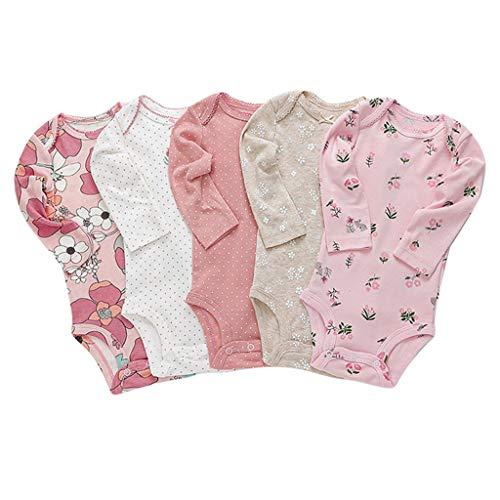 JiAmy 5-Pack Baby lange mouwen rompertjes baby rompertje onderhemden slaappak pak pak katoenen jumpsuit voor jongens…