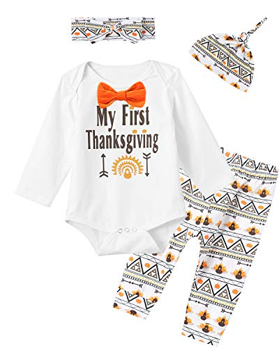 4PCS Baby Boys Girls My 1ST Thanksgiving Outfit Set Long Sleeve Bodysuit Pants with Hat and Headband