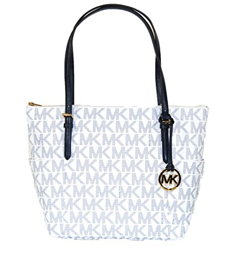 133ade1d490b Michael Kors Jet Set Item East West Signature Top Zip White & Navy PVC Tote  - Buy Online in Oman. | Shoes Products in Oman - See Prices, Reviews and  Free ...