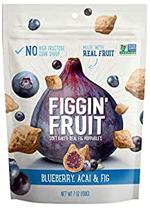 Figgin' Fruit Snacks   Fig, Blueberry & Acai   8 Pack, 7 oz Bags   Vegan Snacks, Dairy Free, Made with Real Fruit & Whole Grains, Non GMO Snack Pack, No Artificial Flavors, Colors or Preservatives