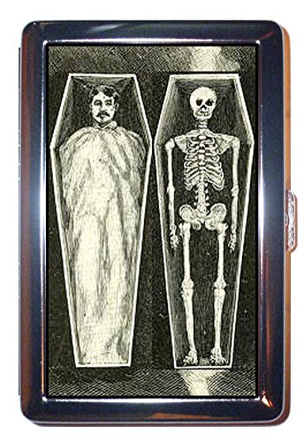 Skeleton Coffin Victorian Magic Scary Graphic Stainless Steel ID or Cigarettes Case (King Size or -