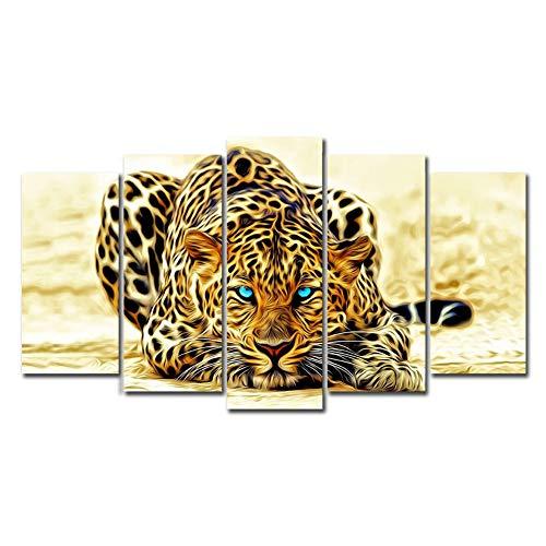 5 Panels Canvas Painting Wall Art Blue Eyes Leopard Animal Picture Prints on Canvas Modern Landscape Unframed Artwork for Living Room Bedroom Home Decor (No Frame)