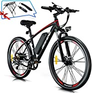 GESHENG 26'' Electric Bikes for Adults, 350W Electric Mountain EBike 21MPH with 48V 12AH Removable Bat