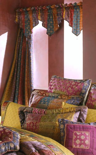Croscill Arabella Multi Stripe Moroccan Jewel 3-Piece Beaded Ascot Valances ()