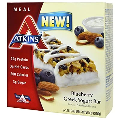 Atkins Blueberry Greek Yogurt Bar 5/1.7Oz bars (3 Pack)