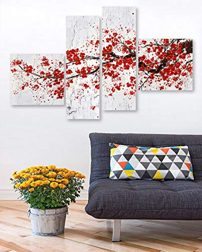 Fox Art Oil Paintings Large Canvas Prints Wall Art Red Flower Set of 4 Panels Hand Painted Floral Wall Decor for Office Living Room Bedroom Stretched and Framed Ready to Hang 52x32Inch