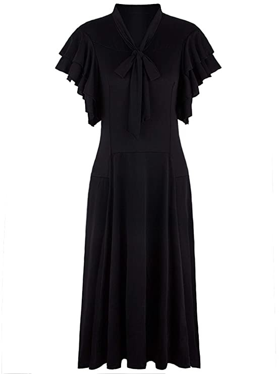 Great Gatsby Dress – Great Gatsby Dresses for Sale VIJIV Womens Vintage 1920s V Neck Long Bias Cut Sleeveless with Flutter Sleeves Bowknot Flapper Dress $38.99 AT vintagedancer.com