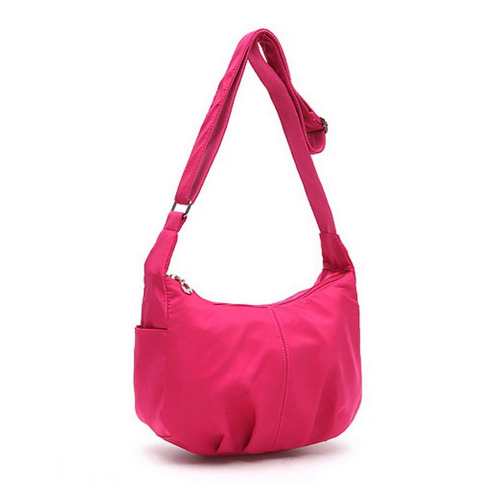 The Seventh Nylon Hobo Bag, Simple Style Crossbody Hobo Bag Dumpling Shape Casual Travel Lightweight Nylon Messenger Bags Pink