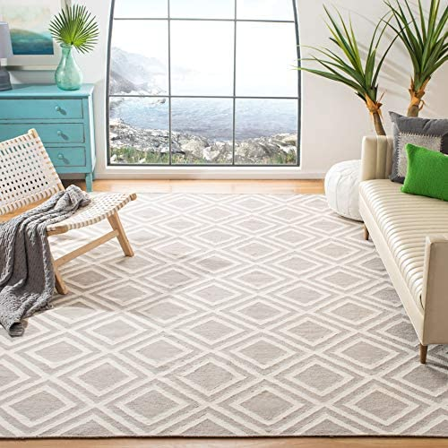 Safavieh Dhurries Collection DHU571A Hand Woven Grey and Ivory Premium Wool Area Rug 8 x 10