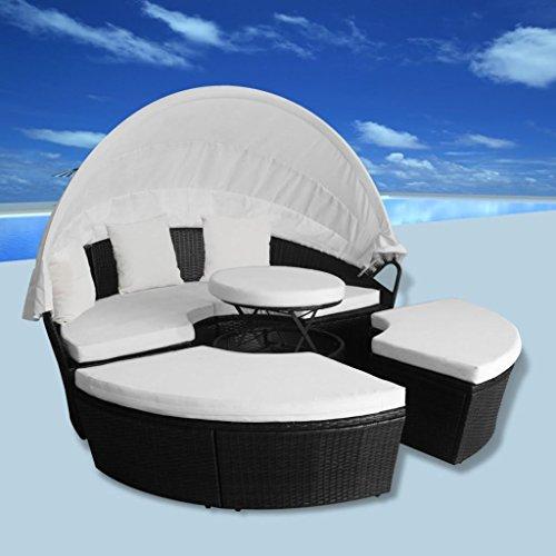 Outdoor Round Chaise (Daonanba 2-in-1 Sun Lounger Poly Rattan Sun Bed Outdoor Chaise Chair Round Black)
