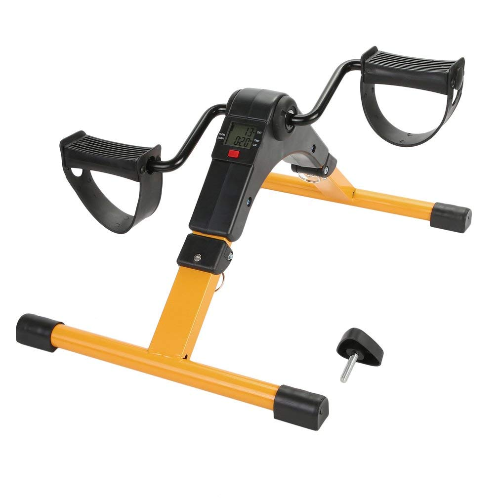 Sweepingy Digital Foldable Mini Floor Foot Pedal Exerciser Leg Machine Foldable Pedal Cycle Trainer Cardio LCD Display Exercise Bike Home Gym Workout