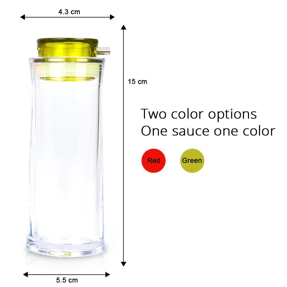 Oil Dispenser & Soy Sauce Bottle - GiniHome Non-Drip Cruet Set for Soy Sauce, Olive Oil, Vinegar, Honey. (Green & Red Set of 2) by GiniHome (Image #2)