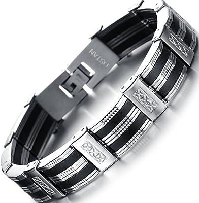 Ostan Men's Royal Stainless Steel Link Bracelet Punk Biker Wrist Silver