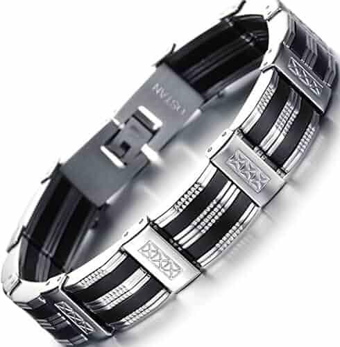 OSTAN Men's Stainless Steel Chain Link Bracelet