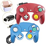Bowink 2 Packs Classic NGC Wired Controllers for Wii Gamecube(Red and Blue)