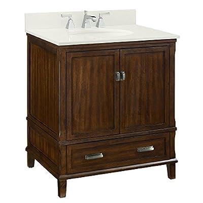 "Dorel Living Otum 30"" Bathroom Vanity, Dark Walnut - Traditional designed 30"" bathroom Vanity Designed for any master bathroom or powder room Crafted of solid wood, engineered wood and fine wood veneer - bathroom-vanities, bathroom-fixtures-hardware, bathroom - 51tA2xqXNsL. SS400  -"