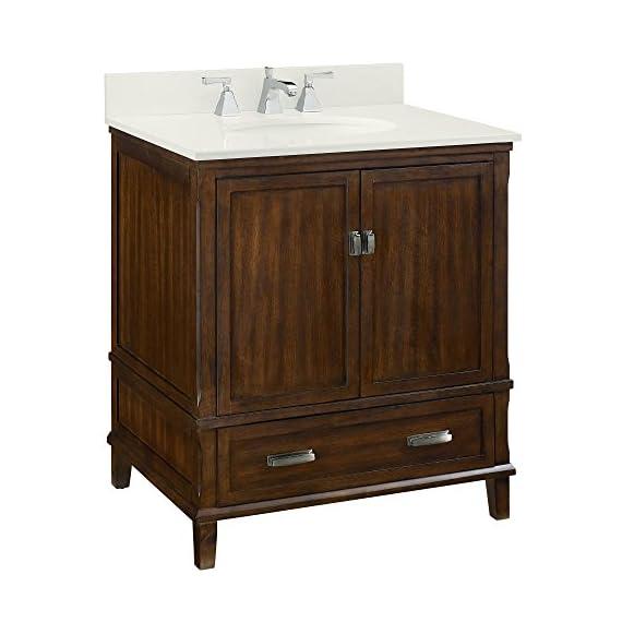 "Dorel Living Otum 30"" Bathroom Vanity, Dark Walnut - Traditional designed 30"" bathroom Vanity Designed for any master bathroom or powder room Crafted of solid wood, engineered wood and fine wood veneer - bathroom-vanities, bathroom-fixtures-hardware, bathroom - 51tA2xqXNsL. SS570  -"