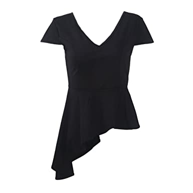 FITYLE Camiseta Con Cuello En V Asimétrico En Color Negro Para ...