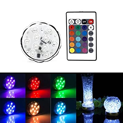 SLBSTORES 10 LED Submersible Waterproof Underwater Color Changing Battery Powered Led Light with Remote Control for Wedding Centerpiece,Party, Vase,event Decoration