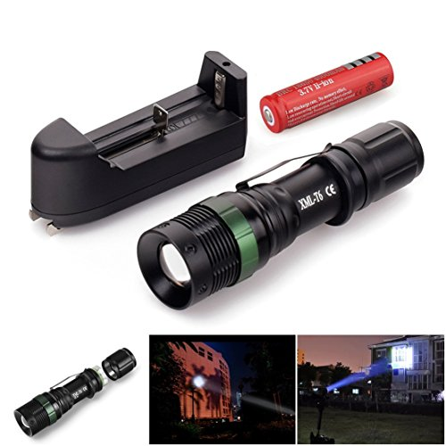 1Pc Unrivaled Popular 3Mode LED Flashlight 2000LM Tactical Lamp Super Bright Super Bright Color Black with Battery Charger