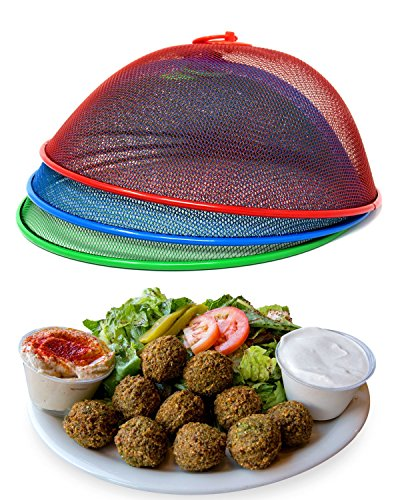Pop Up Food Covers - Metal Mesh Screen Food Cover Tent Umbrella, 10.75 inch, Reusable Outdoor Picnic Food Covers Mesh, Food Cover Net Keep Out Flies, Bugs, Mosquitoes (3 Pack, Green Blue Red)