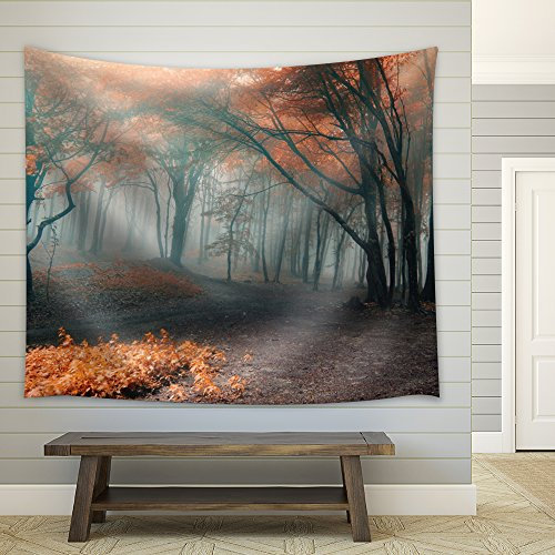 Dirt Road on a Forest During Fall Time Fabric Tapestry