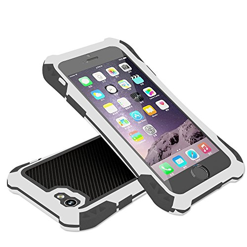 (Luxsure Waterproof Shockproof Dirt Proof Carbon Fiber Aluminum Metal Gorilla Glass Heavy Duty Armor Protection Case Cover for Apple iPhone 6 4.7