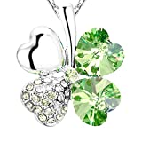 NEVERMORE Shimmering Shamrock (Peridot) Green Four Leaf Clover Crystal Pendant Necklace with Silver Chain for St Patricks Day or Any Lucky Occasion