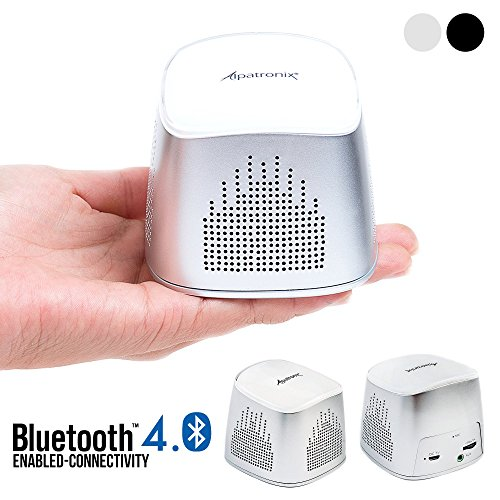 Bluetooth Speaker, Alpatronix AX310 Ultra-Portable Mini Bluetooth Wireless Rechargeable Speaker with Mic, Volume/Playback Controls & Passive Subwoofer for Smartphones, Tablets & Computers - Silver