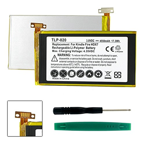 Tablet Battery Compatible with Amazon Kindle Fire HDX Tablet Battery TLP-020 Li-Pol Battery - Rechargeable Ultra High Capacity (Li-Pol 3.8V 4550 mAh)