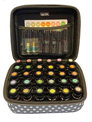 Hytek Gear Essential Oil Carrying Case Holds 30 5ml-15ml - Perfect for Traveling with Oils! Multiple Colors! (30 Vial, Gray Polka Dot)