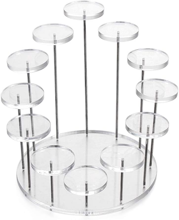 Party Decor Showcase Dessert Holder Cupcake Stand Jewelry Organizer Acrylic Display Stand Storage Rack(12-Tray(Transparent))