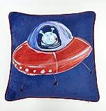 Arthouse Starship Cushion, Polyester, Blue, 45 x 45 x 0.02 cm
