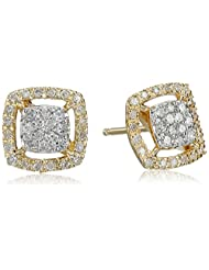 14k Yellow Gold Square Diamond Cluster Stud Earrings (1/4cttw)