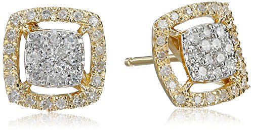 14k Yellow Gold Square Diamond Cluster Stud Earrings (Diamond Stud Square Earrings)