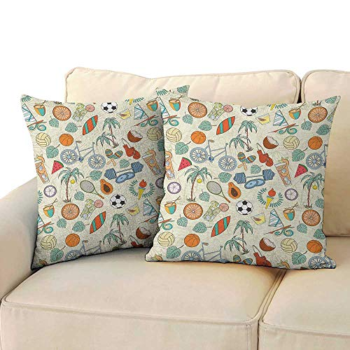 """RenteriaDecor Sport,Waist Throw Pillow Covers Sports Themed Abstract Cartoon Style Icons Bike Balls Olympic Flame Weight Gloves 24""""x 24""""x2 Square 3D Pillowcase Multicolor"""