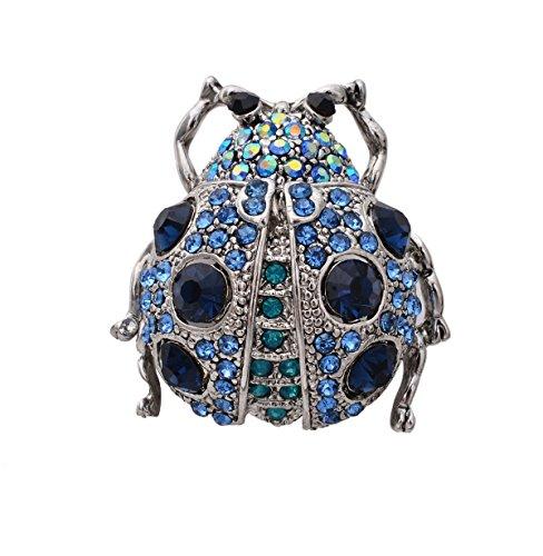 OBONNIE Red, Black Austrian Crystal Enamel Ladybug Brooch Pins Beetle Lapel Pin(Blue) (Pin Ladybug Crystal Brooch)