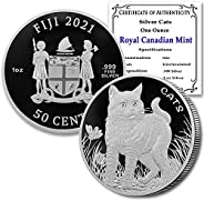 2021 FJ 1 oz Fiji Silver Cats Coin Brilliant Uncirculated (in Capsule) with a Certificate of Authenticity by C
