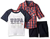 U.S. Polo Assn. Baby Boy's Long Sleeve Woven Shirt, T-Shirt and Short Set Shorts