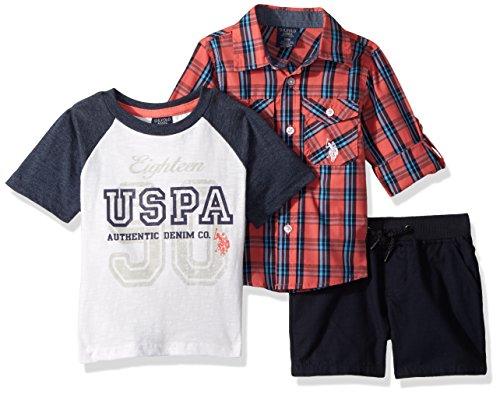 U.S. Polo Assn. Baby Boys Long Sleeve Woven Shirt, T-Shirt and Short Set Shorts