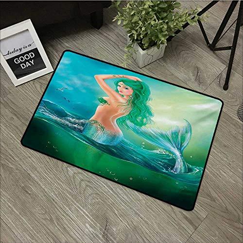 "Price comparison product image Anzhutwelve UnderwaterEntry Rug Mermaid in Ocean on Waves Tail Sea Creatures Dramatic Sky Dark Clouds Print W 24"" x L 35"" Carpet Kids Room Pad Floor Mat Blue Green"