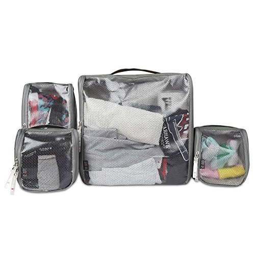 BUBM 4pcs/Set Travel Carrying Case Packing Cubes Waterproof Universal Electronics Accessories Organizer- (4-Gray)