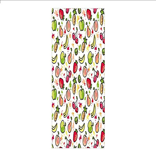 Kiwi Color Reflector - Decorative Privacy Window Film/Watercolor Pear Cherries Kiwi Apple Brushstroke Splashes Cute Kids Kitchen Decorative/No-Glue Self Static Cling for Home Bedroom Bathroom Kitchen Office Decor Peach Lime