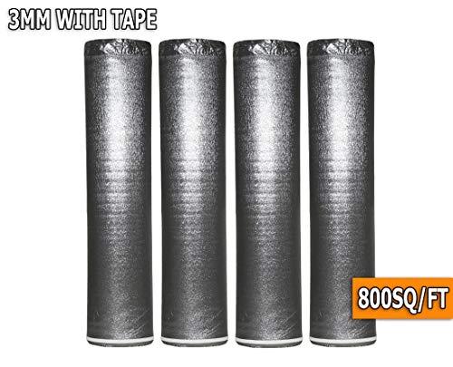 AMERIQUE AMSLV3MM4R 800SQFT Premium 3MM Thick Silver Super Quiet Floor Underlayment Padding with Tape & Vapor Barrier 3-in-1 Heavy Duty (4 Rolls / 800 SQFT), Square Feet