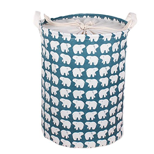 Collapsible Laundry Basket, Dirty Cloth Drawstring Storage Bin Toy Collection Organizer with Two Handles for Nursery Kid's Room - Polar Bear