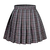 Beautifulfashionlife Girl's A-Line Kilt Plaid Pleated Skirts (XS, Grey Mixed White)
