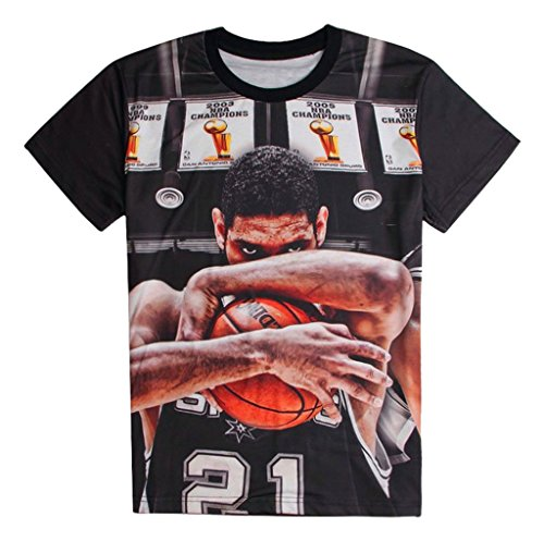 CHIC Short Sleeve Tee Shirts Duncan Superstar Printed 3D Black T-shirts (XXL)