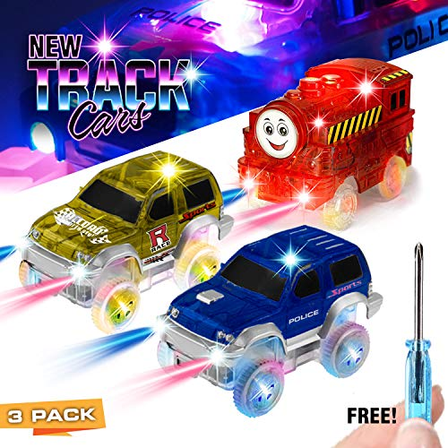 Track Race Cars 3 Pack, 5 LED Light Up Replacement Glow In The Dark Car |Track Accessories| Police Car, Dinosaur School Bus, Track Train, Compatible With Magic Tracks and Other - Accessory Track Led